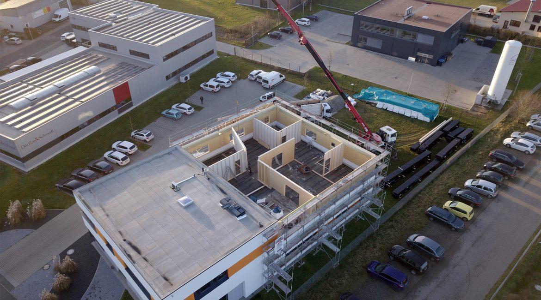 Anbau Cube Bausstelle - Blick von oben