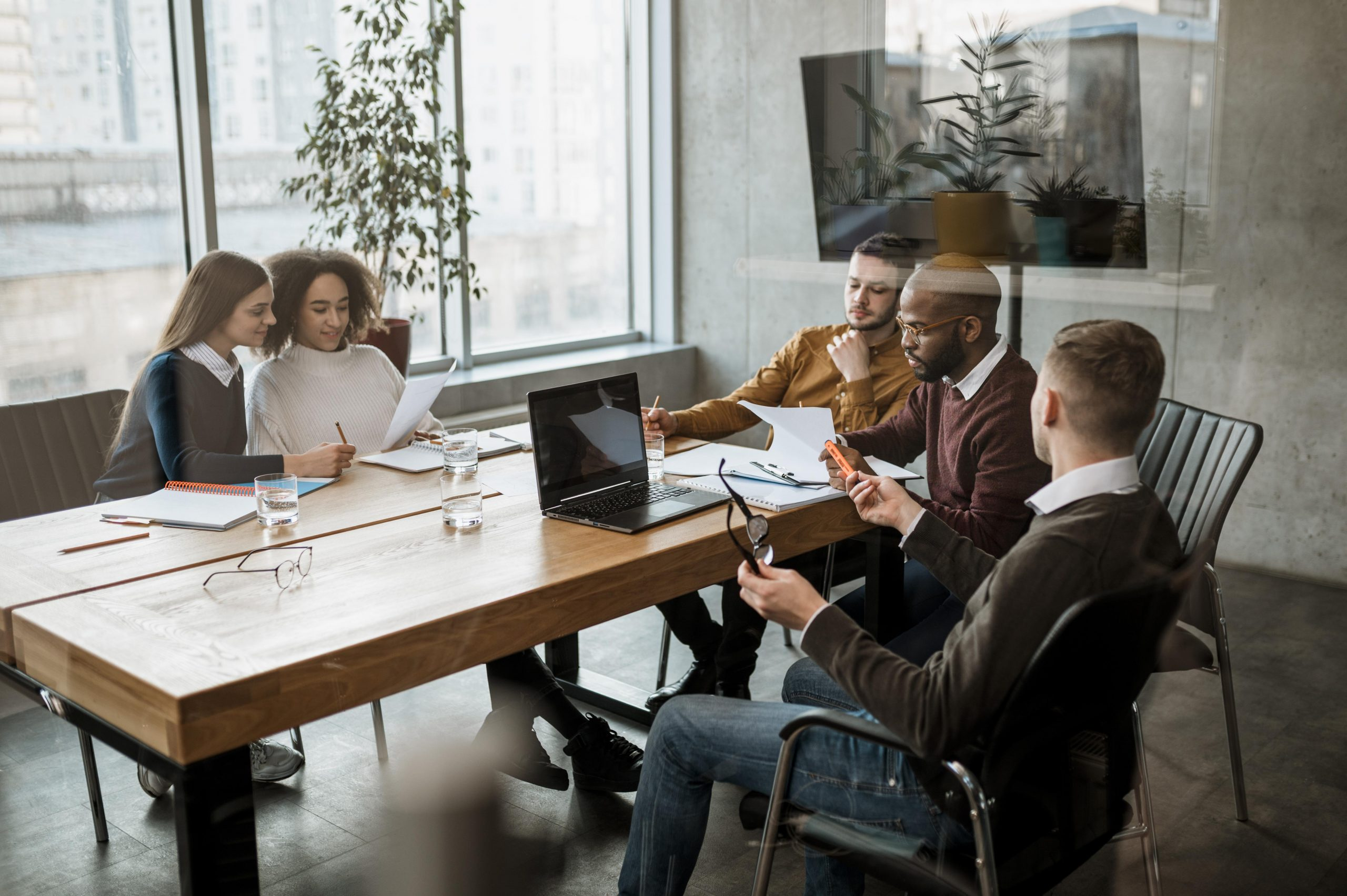 People having meeting office